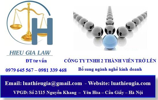 Thủ tục bổ sung ngành nghề kinh doanh công ty TNHH 2 thành viên trở lên