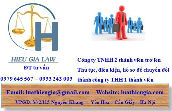 thủ tục chuyển đổi công ty TNHH 2 thành viên thành công ty TNHH 1 thành viên