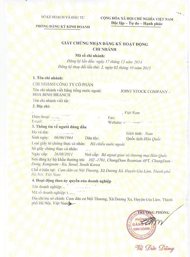 Giấy chứng nhận đăng ký hoạt động chi nhánh tại Bắc Ninh