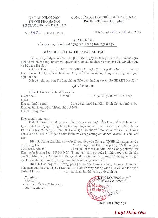 Giấy phép hoạt động của Trung tâm ngoại ngữ tại Bắc Ninh
