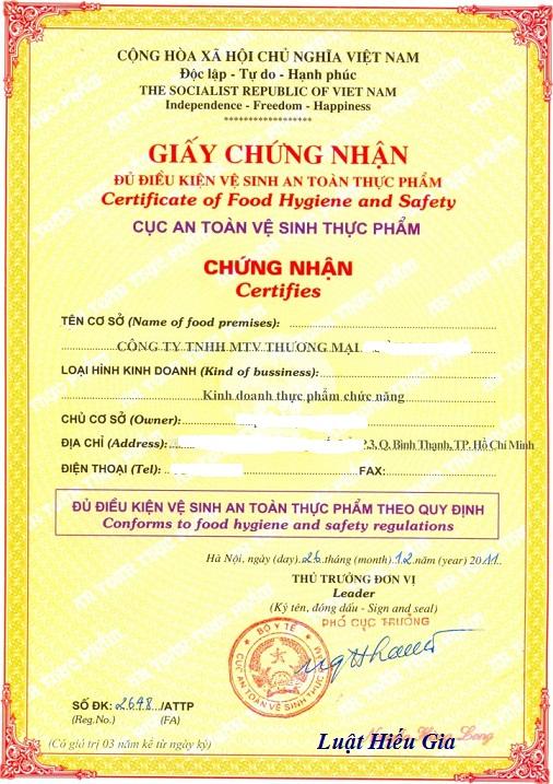 Thủ tục xin giấy phép vệ sinh an toàn thực phẩm tại Bắc Ninh