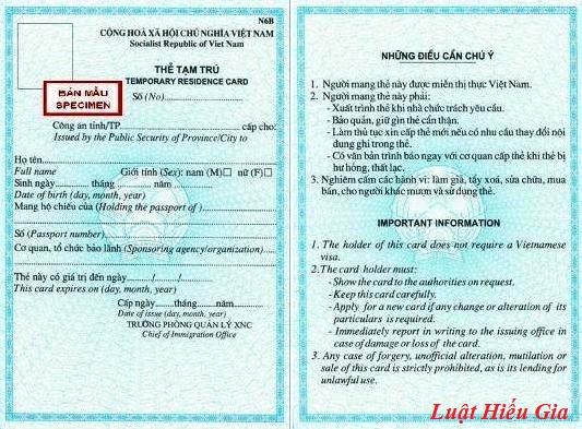Thủ tục cấp thẻ tạm tú cho người nước ngoài