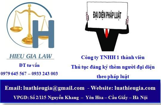 Thủ tục đăng ký thêm người đại diện pháp luật công ty TNHH 1 thành viên