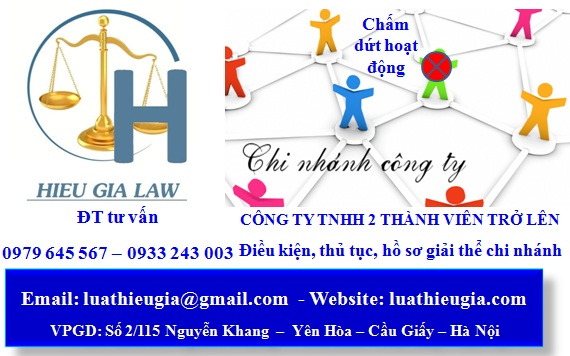 Thủ tục giải thể chi nhánh công ty TNHH 2 thành viên trở lên