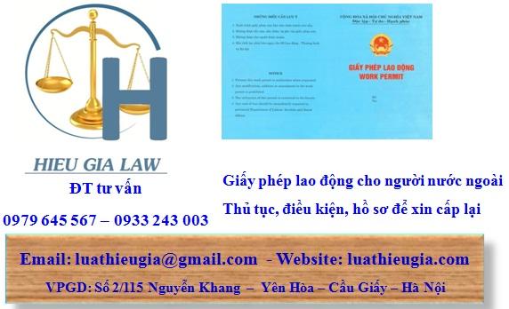 Thủ tục cấp lại giấy phép lao động cho người nước ngoài tại Việt Nam