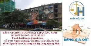 Bảng giá bồi thường đất tại Quảng Ninh