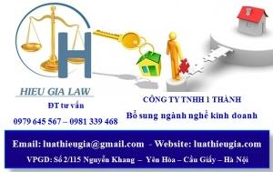 Bổ sung ngành, nghề kinh doanh công ty TNHH 1 thành viên