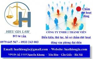 chấm dứt hoạt động văn phòng đại diện công ty TNHH hai thành viên trở lên