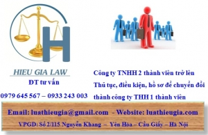 Chuyển đổi công ty TNHH hai thành viên trở lên thành công ty TNHH một thành viên