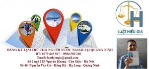 Đăng ký tạm trú cho người nước ngoài tại Quảng Ninh