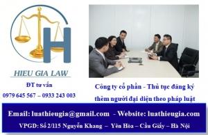 đăng ký thêm người đại diện theo pháp luật công ty cổ phần