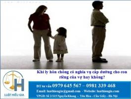 Khi ly hôn chồng có nghĩa vụ cấp dưỡng cho con riêng của vợ hay không