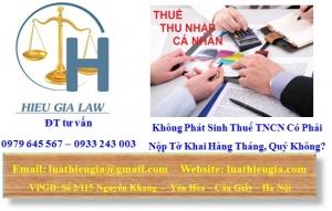 Không Phát Sinh Thuế TNCN Có Phải Nộp Tờ Khai Hàng Tháng, Quý Không?