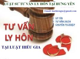 Luật sư tư vấn ly hôn tại Hưng Yên