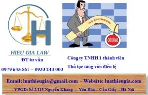 Tăng vốn điều lệ công ty TNHH 1 thành viên