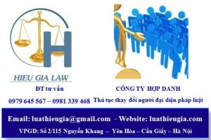 Thay đổi người đại diện theo pháp luật công ty hợp danh